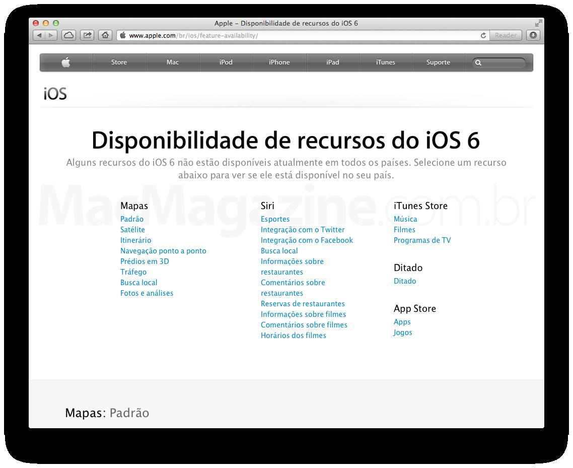 Página com a disponibilidade de recursos do iOS 6