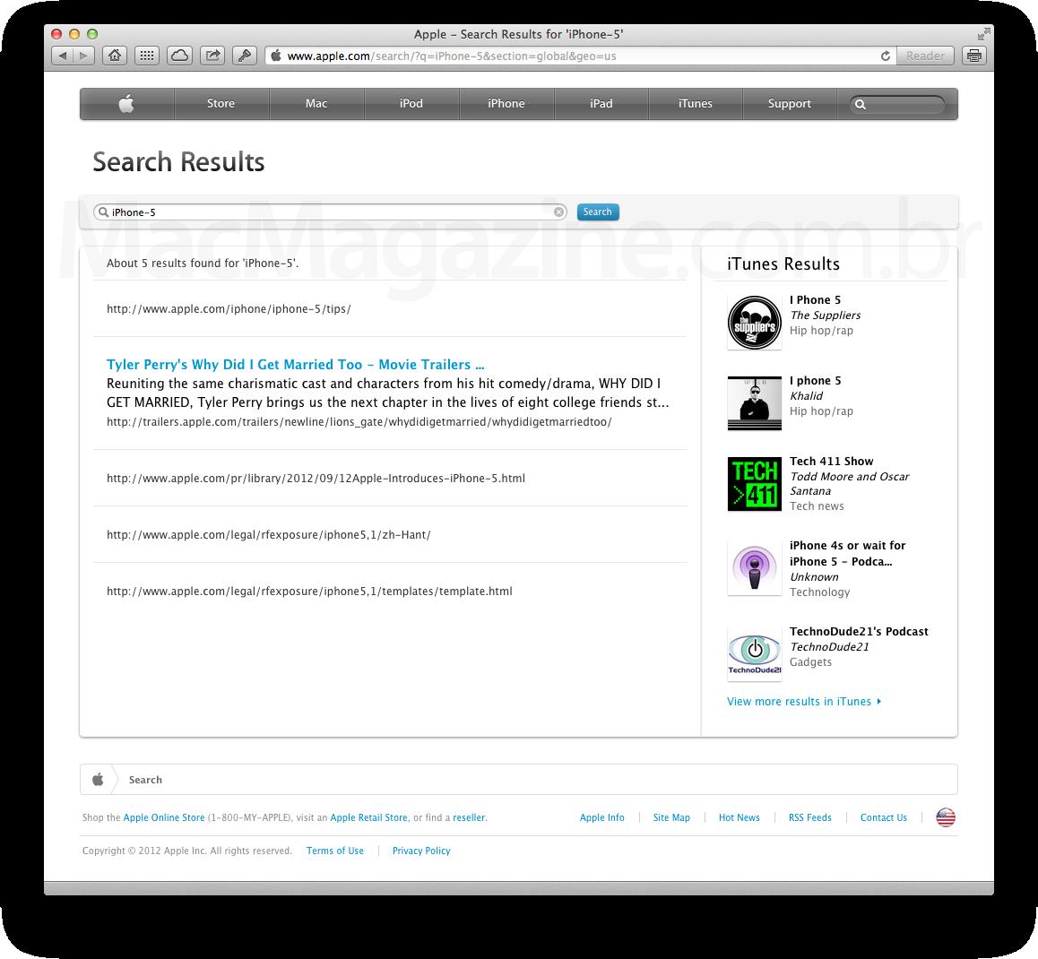 Busca por iPhone 5 no Apple.com