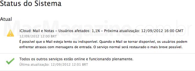 Status do iCloud (12/9)