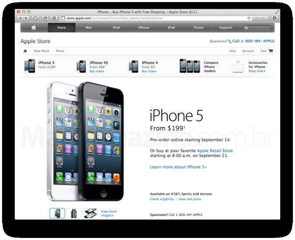 Página de pré-venda do iPhone 5