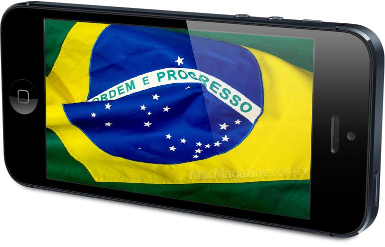 iPhone 5 com a bandeira do Brasil