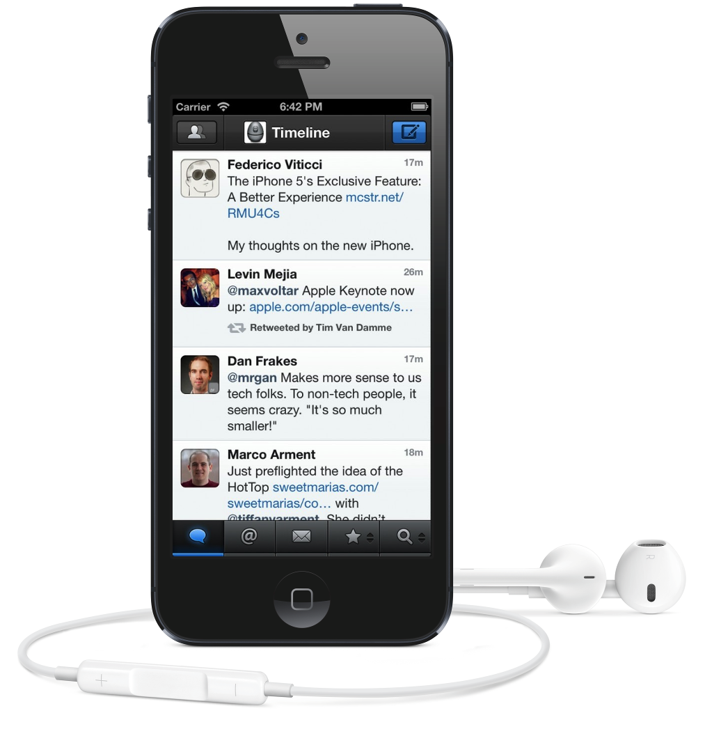 Tweetbot no iPhone 5