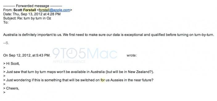 Email respondido por Scott Forstall