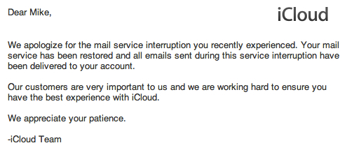 Email de desculpas para usuários do iCloud
