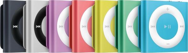 Novas cores de iPods shuffle