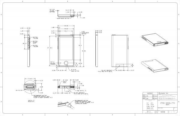 Desenho técnico do iPod nano