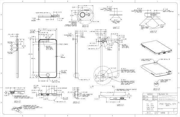Desenho técnico do iPod touch