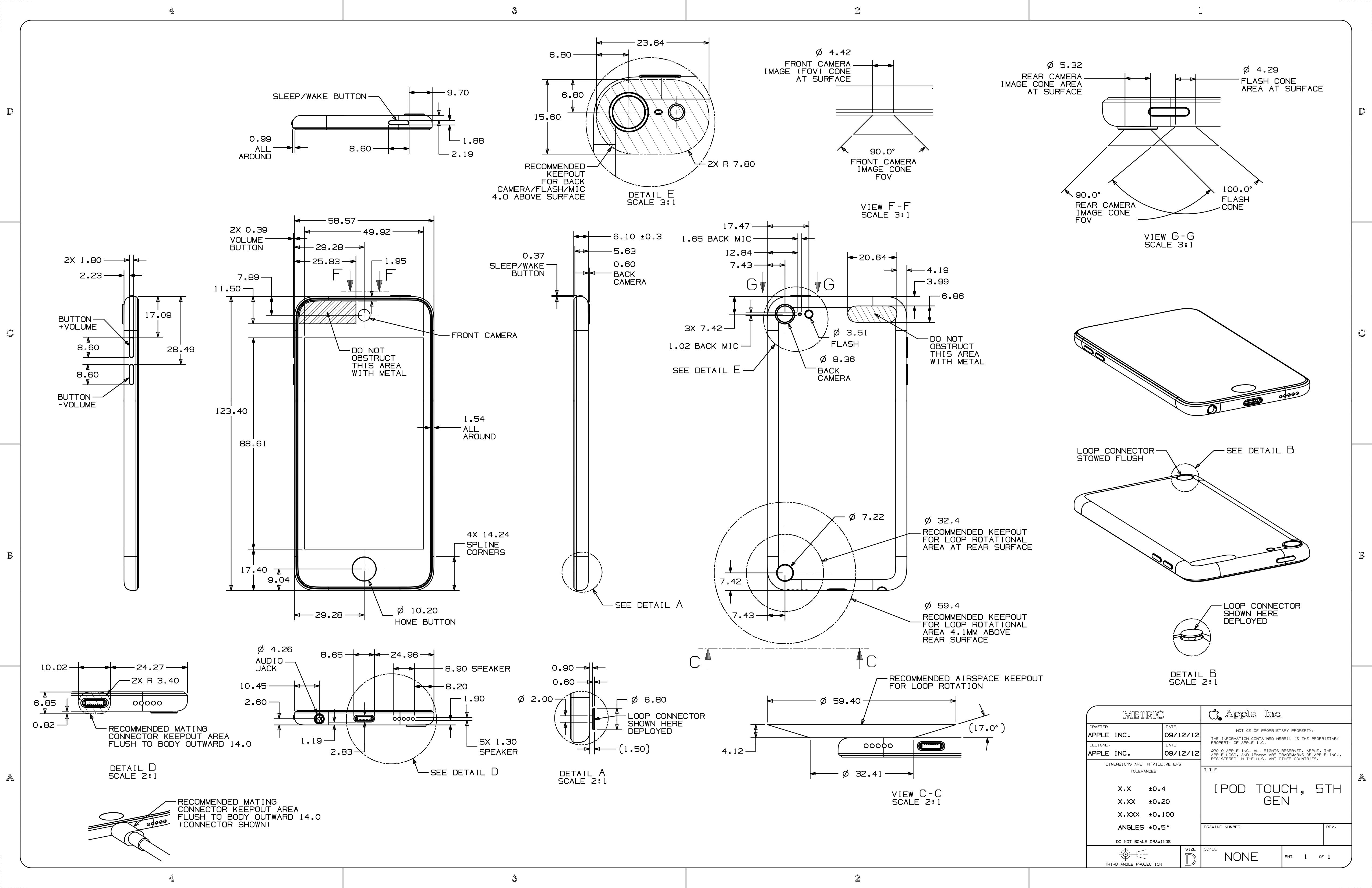 Desenho esquemático do iPod touch