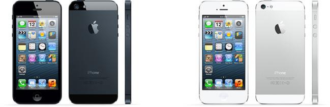 iPhones 5 preto e branco, de frente, de costas e de lado