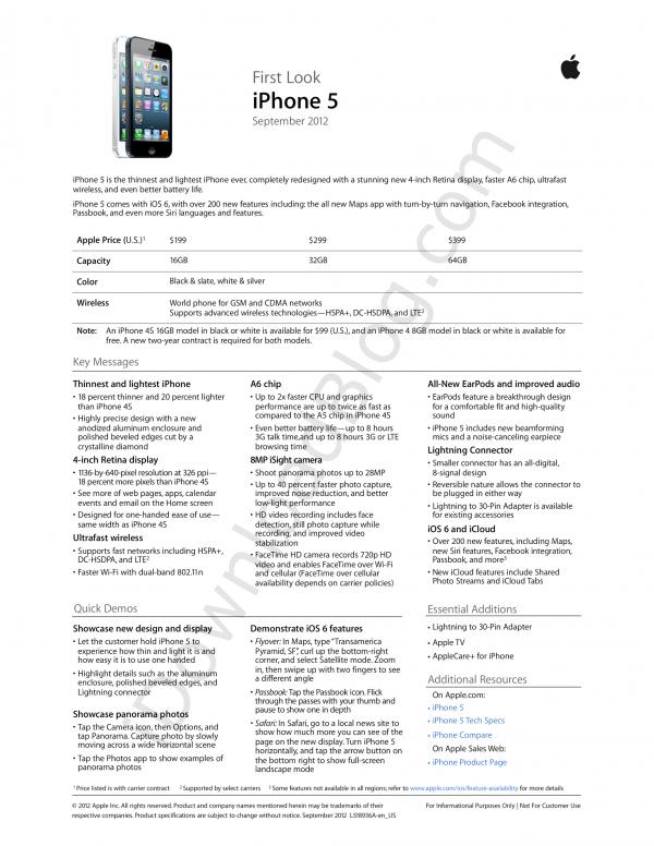 Material promocional do iPhone 5
