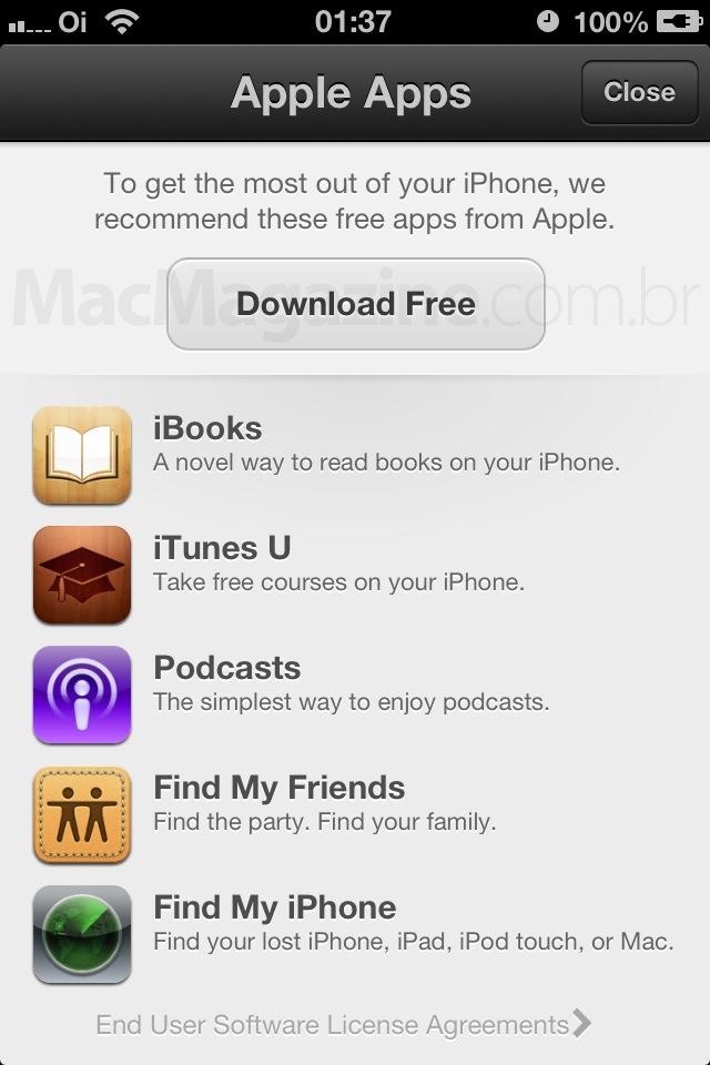 Apple divulgando seus aplicativos gratuitos na App Store do iPhone