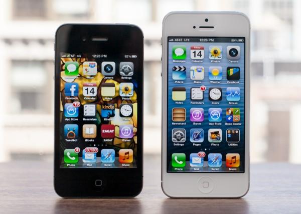 iPhone 5 ao lado de 4/4S