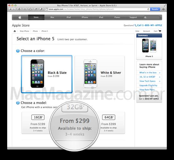 Prazo de entrega de iPhones 5 em 3-4 semanas