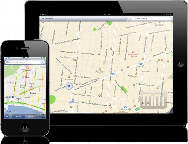 Mapas antigo no iPhone e Mapas do iOS 6 no iPad