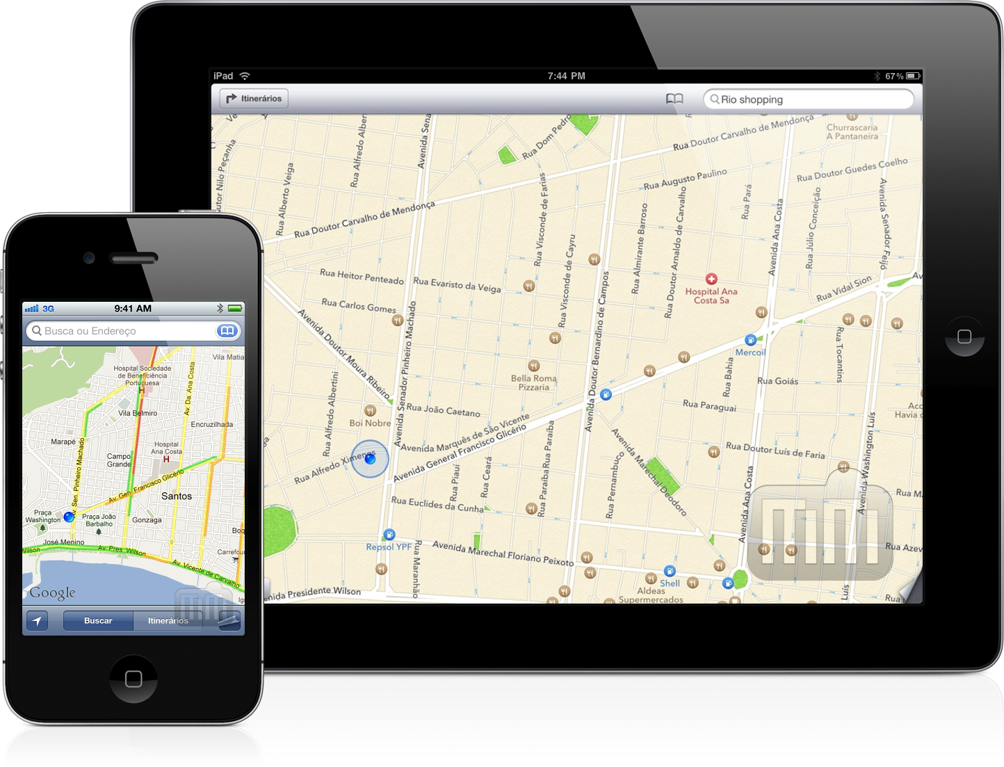 Mapas antigo no iPhone e Mapas do iOS 6 no iPad