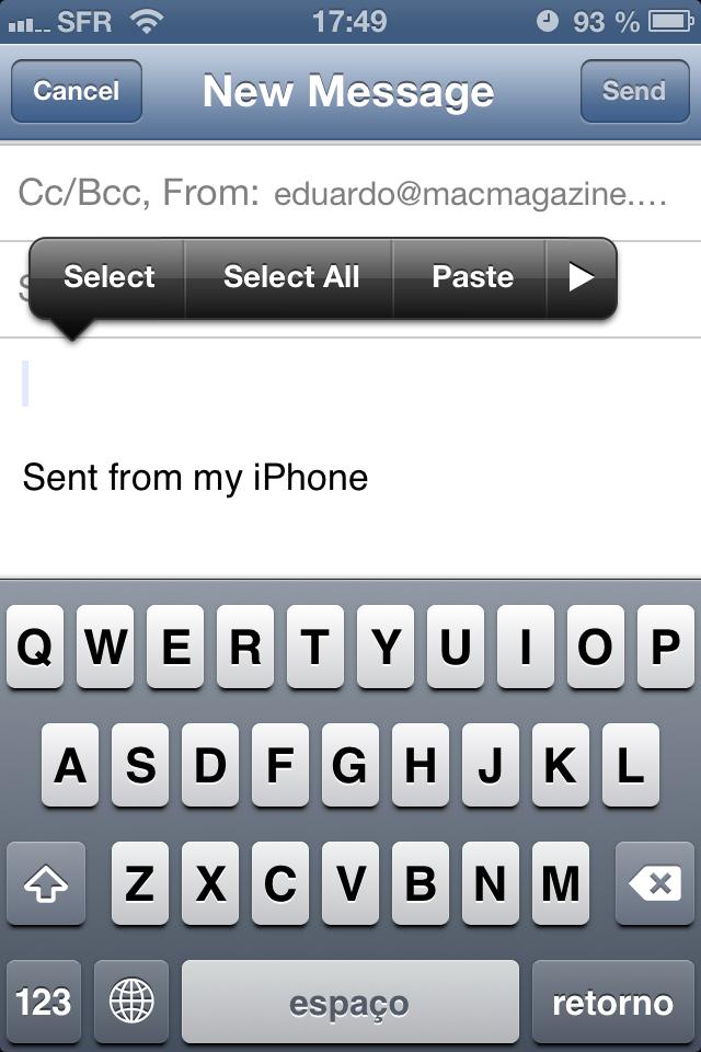 Anexando fotos e vídeos no Mail do iOS 6