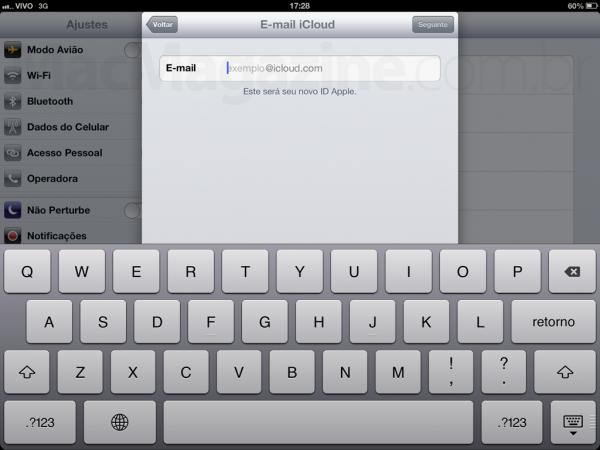Conta @icloud.com criada num iPad