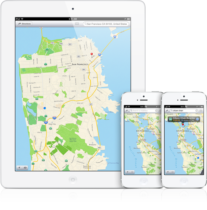 Mapas do iOS 6 em iPad e iPhones