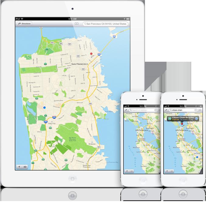 Mapas do iOS 6 em iPad e iPhones