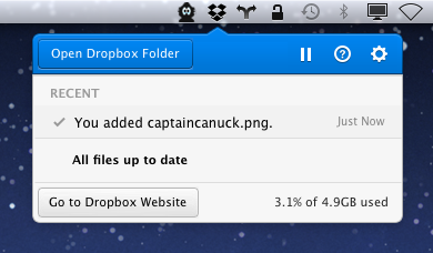 Novo item de menu do Dropbox para Mac