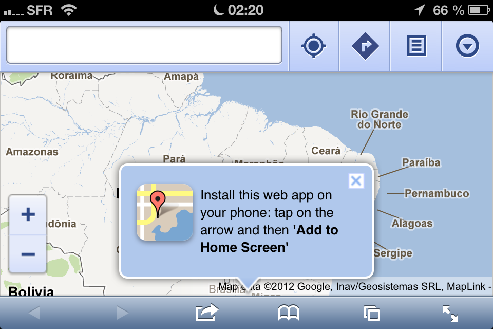 Google Maps no Safari do iOS