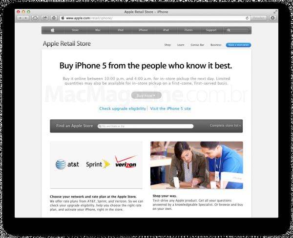 Página americana de reserva do iPhone 5