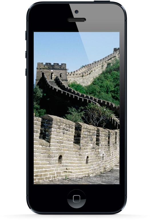 iPhone 5 com a Muralha da China
