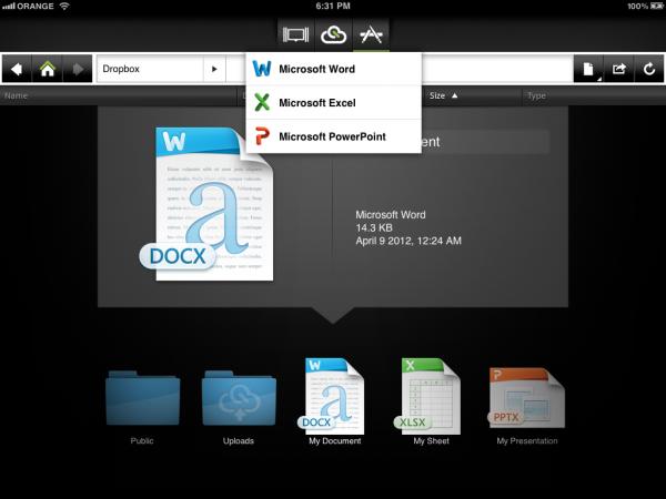 CloudOn para iPad