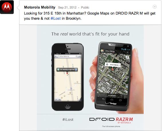 Ataque da Motorola ao mapas da Apple