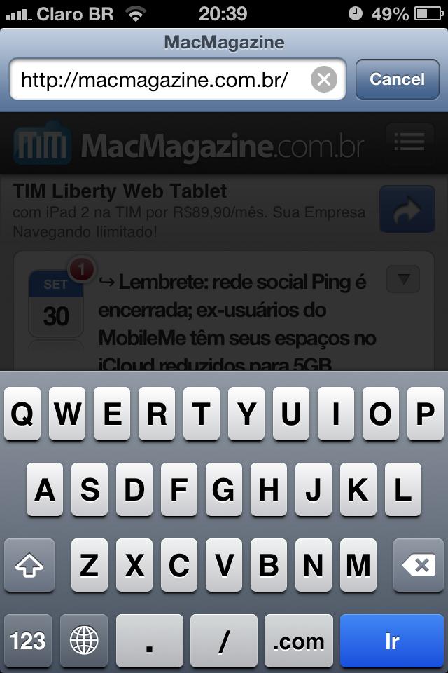 Barra de endereços do Mobile Safari
