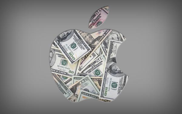 Logo da Apple feito com dinheiro