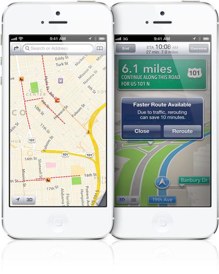 Mapas do iOS 6 em iPhones 5