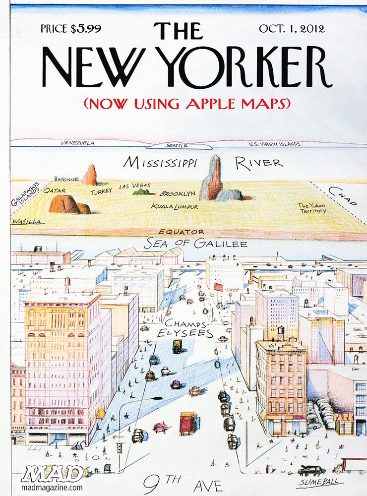 Capa da Mad Magazine zombando dos mapas da Apple