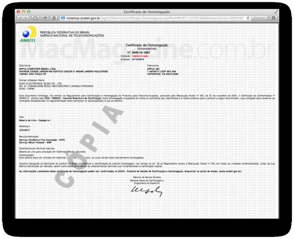 Certificado da bateria do iPhone 5 - Anatel