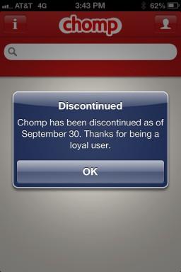 Mensagem de encerramento do Chomp