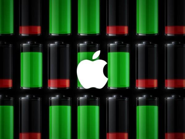 Logo da Apple com fundo de bateria