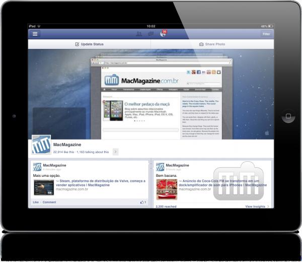 Gerenciador de Páginas do Facebook em iPad