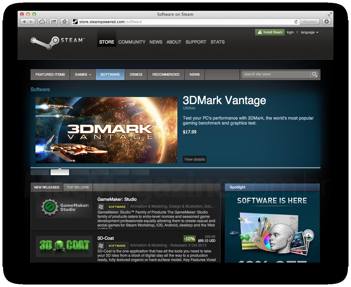 Aplicativos na loja Steam, da Valve
