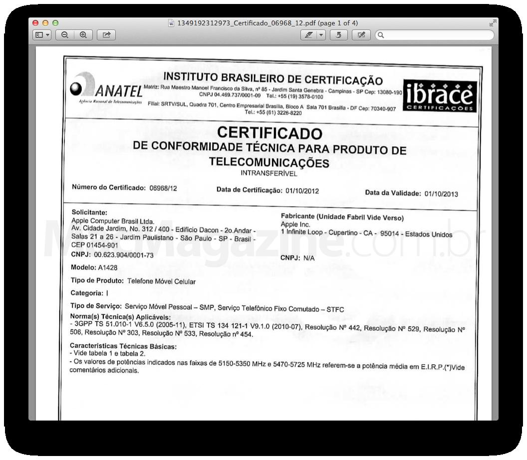 Certificado do iPhone 5 emitido pela ANATEL