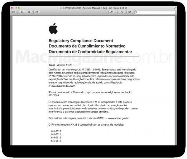 Documento de Conformidade Regulamentar do iPhone 5