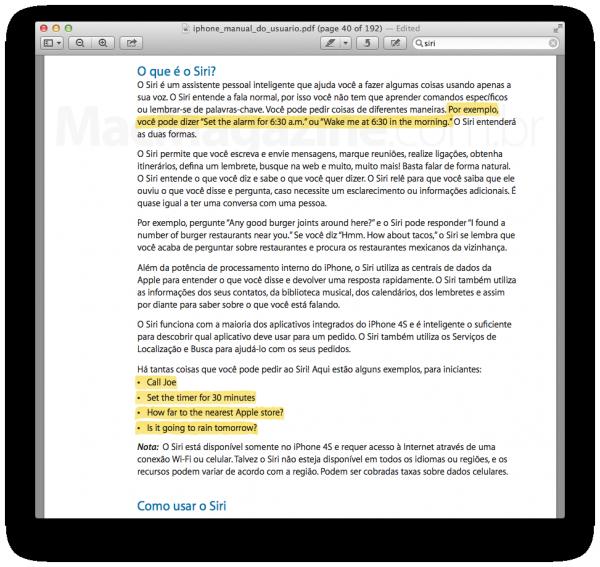 Manual do iPhone 4S com informações da Siri em inglês