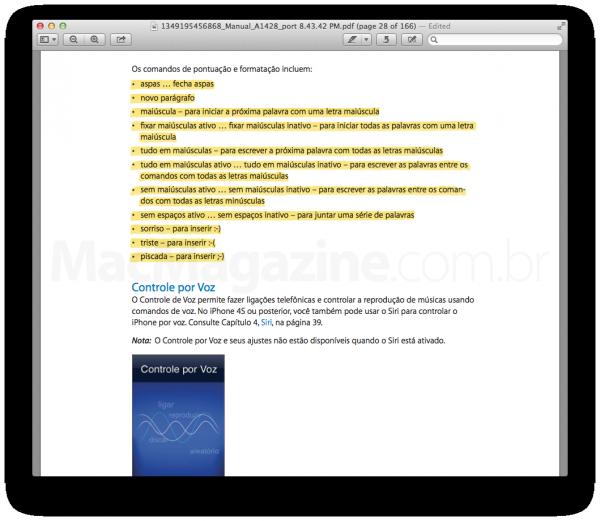 Manual do iPhone 5 com informações da Siri em português