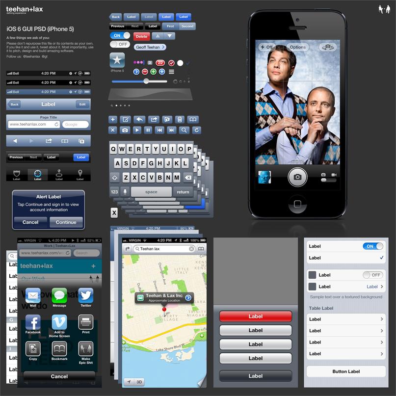 PSD com a GUI do iOS 6 (iPhone 5)