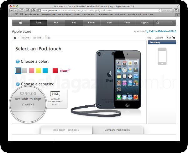 Prazo de entrega dos iPods touch