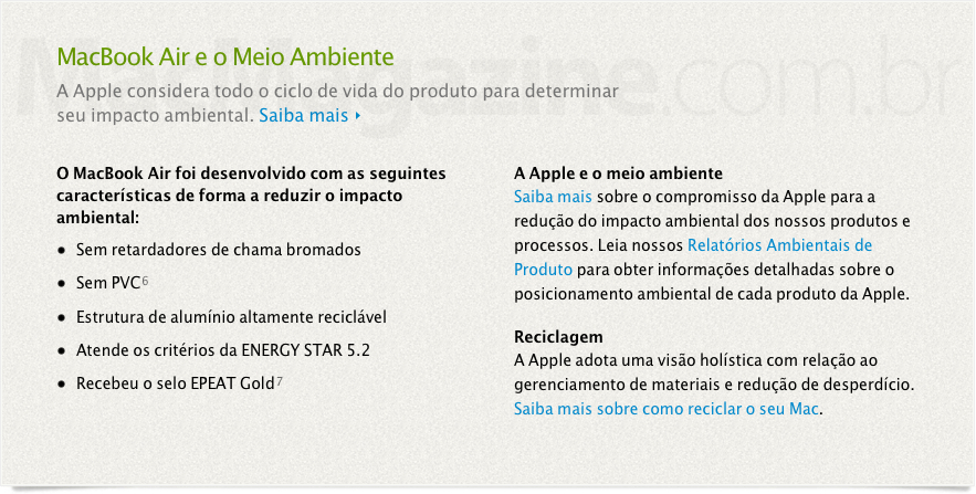 MacBook Air e o meio ambiente