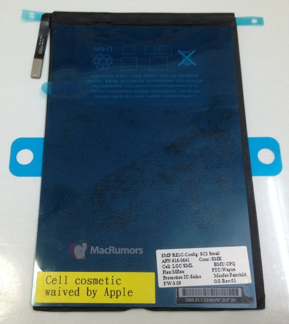 """Suposta bateria do """"iPad mini"""""""