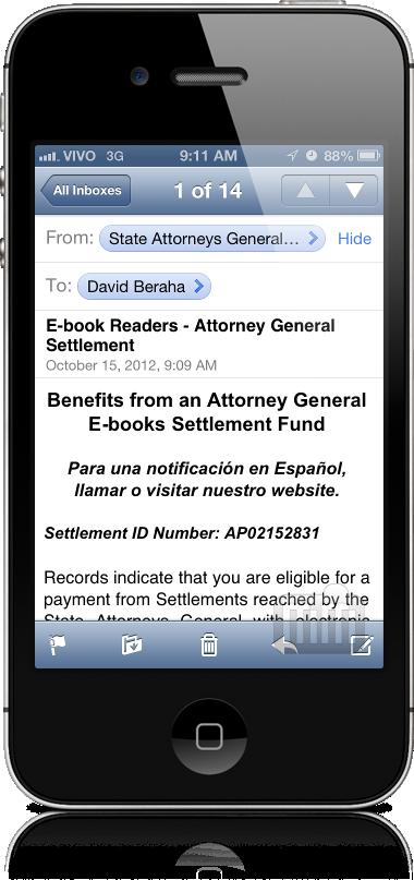 Email sobre acordo de ebooks