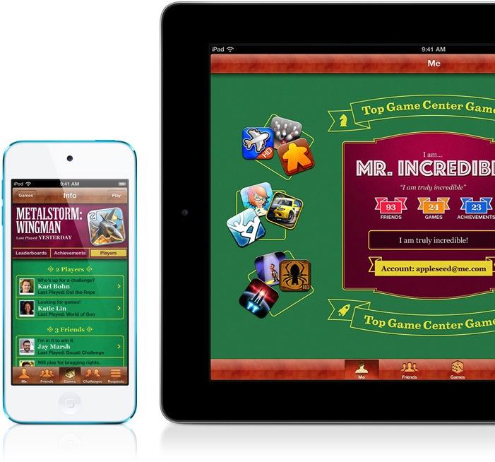 Game Center rodando em iPod touch e iPad