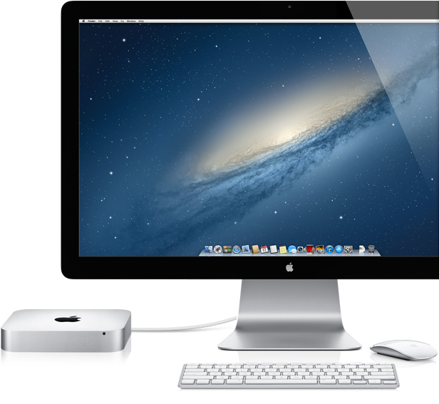 Mac mini com Thunderbolt Display e Magic Mouse