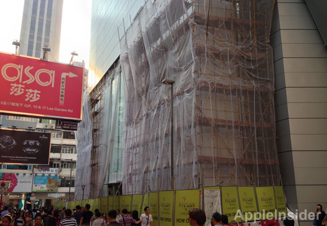 Obras da Apple Store no shopping Hysan Place